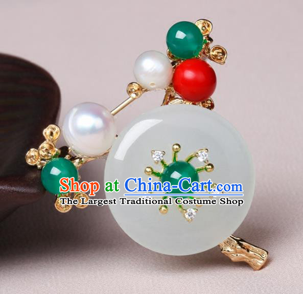 Chinese Traditional Breastpin Jewelry Accessories National Hanfu Jade Brooch for Women