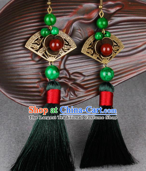 Chinese Yunnan National Classical Tassel Earrings Traditional Hanfu Ear Jewelry Accessories for Women
