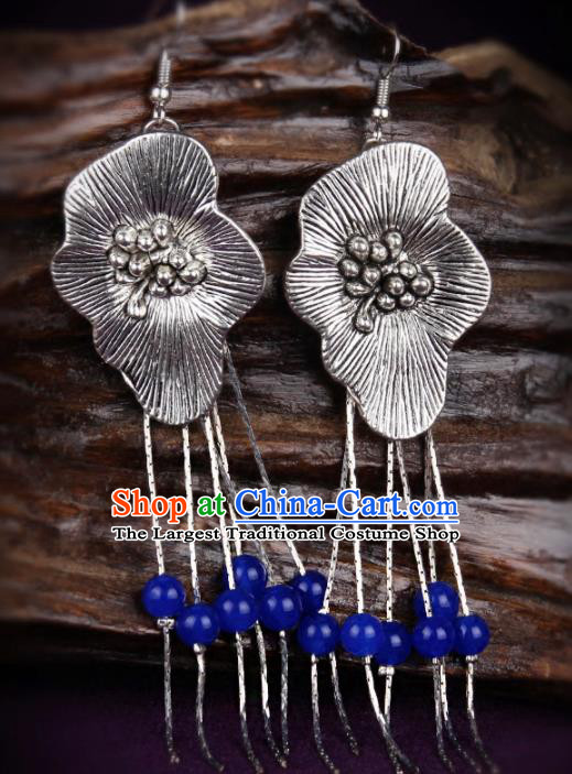 Chinese Yunnan National Classical Earrings Traditional Hanfu Ear Jewelry Accessories for Women