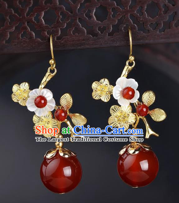 Chinese Yunnan National Classical Golden Wintersweet Earrings Traditional Ear Jewelry Accessories for Women
