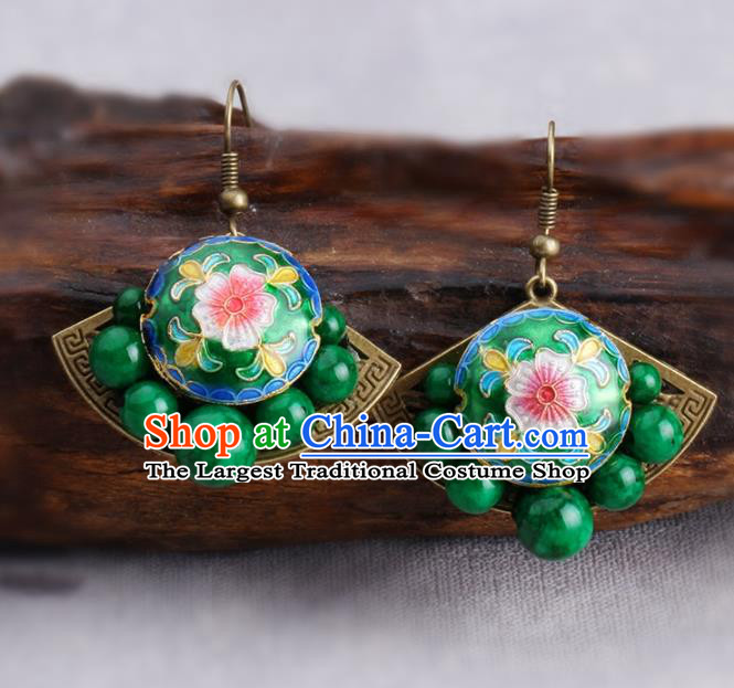 Chinese Yunnan National Cloisonne Green Earrings Traditional Classical Hanfu Ear Jewelry Accessories for Women