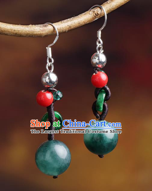 Chinese Yunnan National Classical Jade Earrings Traditional Ear Jewelry Accessories for Women