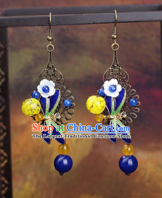 Chinese Yunnan National Classical Earrings Traditional Blueing Ear Jewelry Accessories for Women