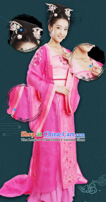 Chinese Traditional Ming Dynasty Princess Replica Costumes Ancient Palace Lady Hanfu Dress and Headpiece Complete Set