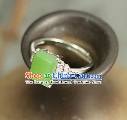 Chinese Traditional Jade Rings Traditional Classical Hanfu Jewelry Accessories for Women