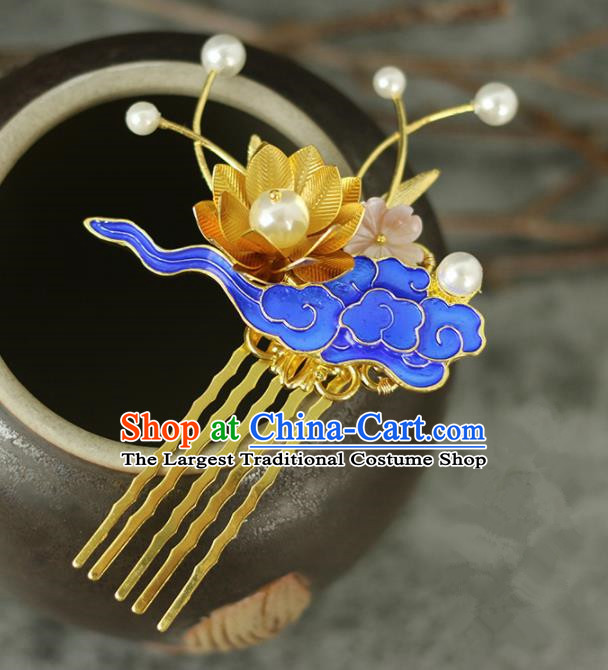 Handmade Chinese Traditional Blueing Lotus Hair Combs Traditional Classical Hanfu Hair Accessories for Women