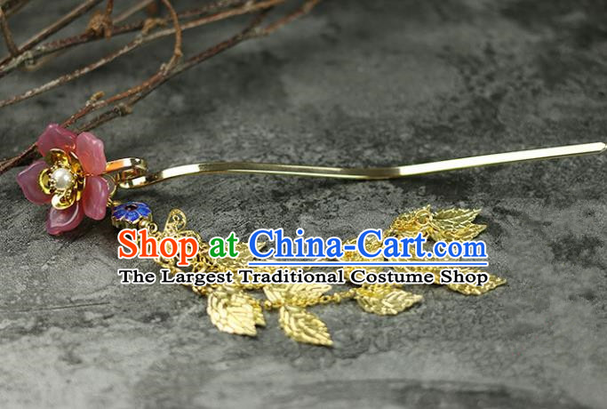 Handmade Chinese Traditional Pink Flower Hairpins Traditional Classical Hanfu Hair Accessories for Women