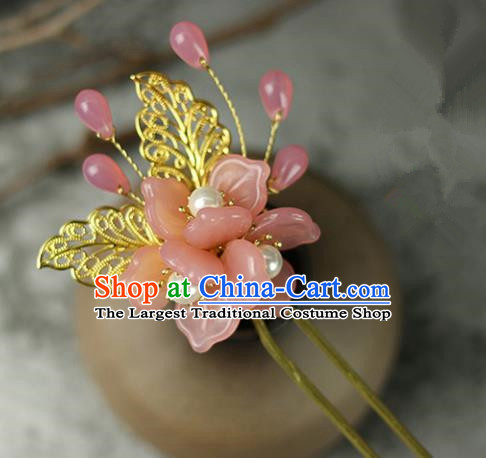 Handmade Chinese Traditional Pink Flowers Hairpins Traditional Classical Hanfu Hair Accessories for Women