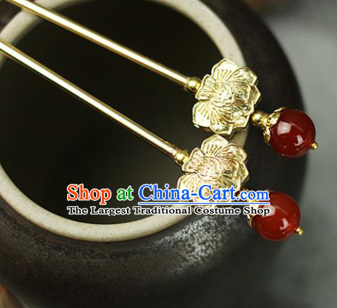 Handmade Chinese Traditional Golden Lotus Hairpins Traditional Classical Hanfu Hair Accessories for Women