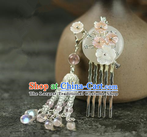 Handmade Chinese Traditional White Jade Tassel Hair Combs Traditional Classical Hanfu Hair Accessories for Women