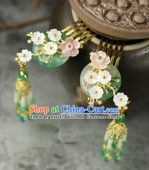 Handmade Chinese Traditional Jade Tassel Hair Combs Traditional Classical Hanfu Hair Accessories for Women