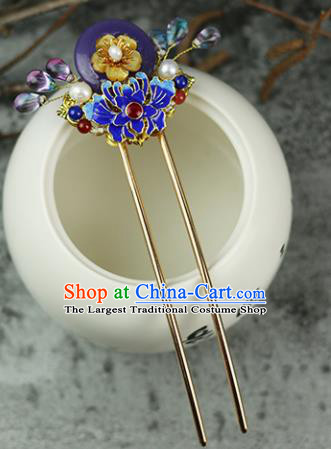 Handmade Chinese Traditional Blueing Lotus Purple Hairpins Traditional Classical Hanfu Hair Accessories for Women