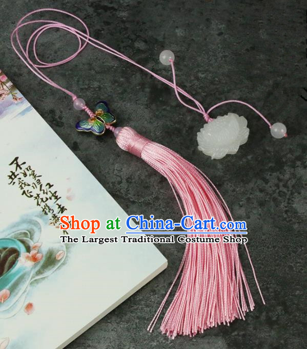 Handmade Chinese Traditional Pink Tassel Lotus Jade Pendant Traditional Classical Hanfu Jewelry Accessories for Women