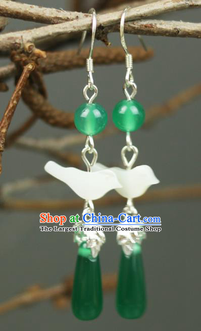 Chinese Handmade Shell Bird Earrings Traditional Classical Hanfu Ear Jewelry Accessories for Women