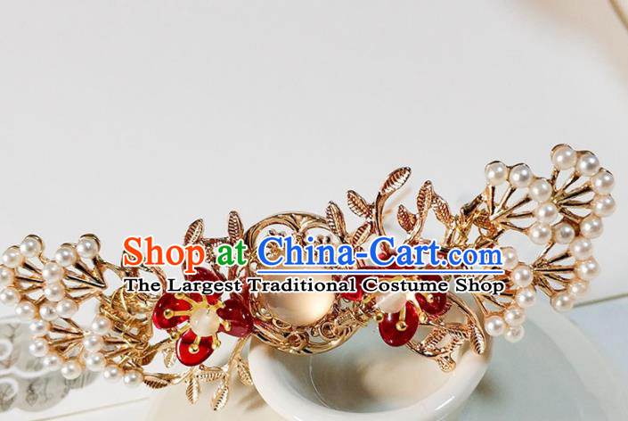 Handmade Chinese Traditional Pearls Hairpins Ancient Classical Hanfu Hair Accessories for Women