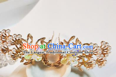 Handmade Chinese Traditional Chalcedony Hairpins Ancient Classical Hanfu Hair Accessories for Women