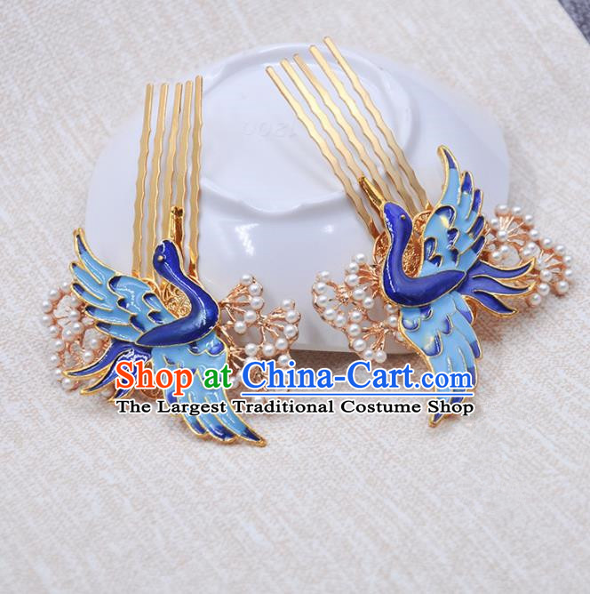 Handmade Chinese Traditional Blueing Crane Hair Combs Ancient Classical Hanfu Hair Accessories for Women