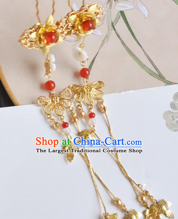 Handmade Chinese Traditional Golden Tassel Hairpins Ancient Classical Hanfu Hair Accessories for Women