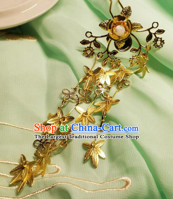 Handmade Chinese Traditional Golden Leaf Tassel Hairpins Ancient Classical Hanfu Hair Accessories for Women