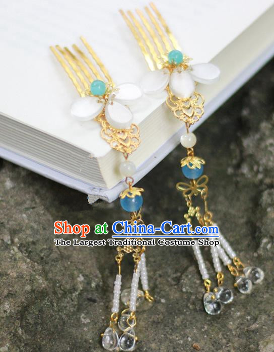 Handmade Chinese Traditional Golden Hair Combs Ancient Classical Hanfu Hair Accessories for Women
