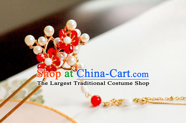 Handmade Chinese Traditional Tassel Step Shake Pearls Hairpins Ancient Classical Hanfu Hair Accessories for Women