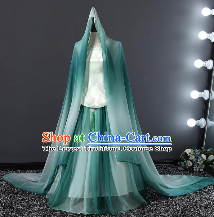 Children Modern Dance Costume Chinese Stage Performance Compere Green Full Dress for Girls Kids