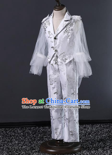 Children Modern Dance Costume Compere Halloween Catwalks Embroidered White Suits for Kids