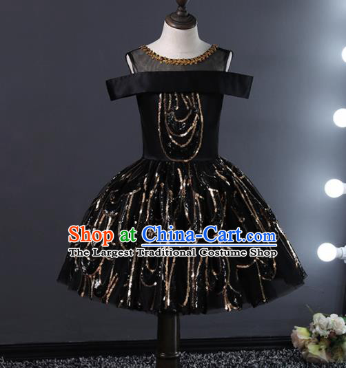 Children Stage Performance Catwalks Costume Ballroom Dance Compere Black Bubble Dress for Girls Kids