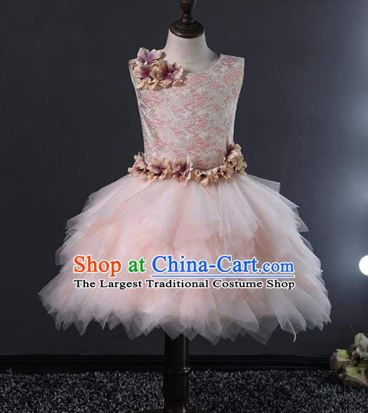 Children Stage Performance Catwalks Costume Ballroom Dance Compere Pink Veil Bubble Dress for Girls Kids