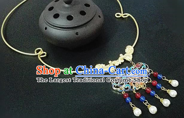 Chinese Traditional Hanfu Blueing Tassel Necklace Traditional Classical Jewelry Accessories for Women