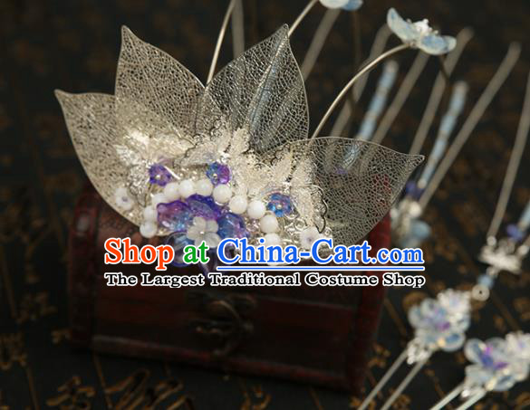 Chinese Ancient Traditional Hanfu Hairpins Tassel Phoenix Coronet Handmade Classical Hair Accessories for Women