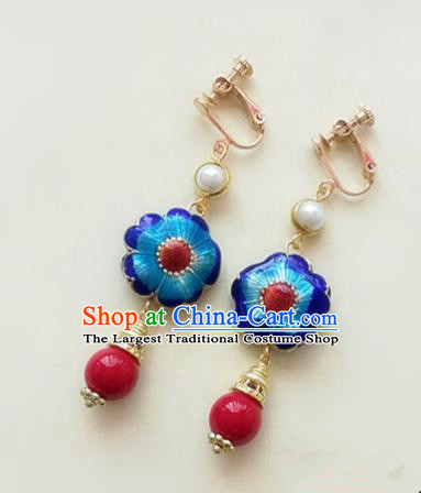 Chinese Ancient Handmade Blueing Earrings Traditional Classical Hanfu Ear Jewelry Accessories for Women
