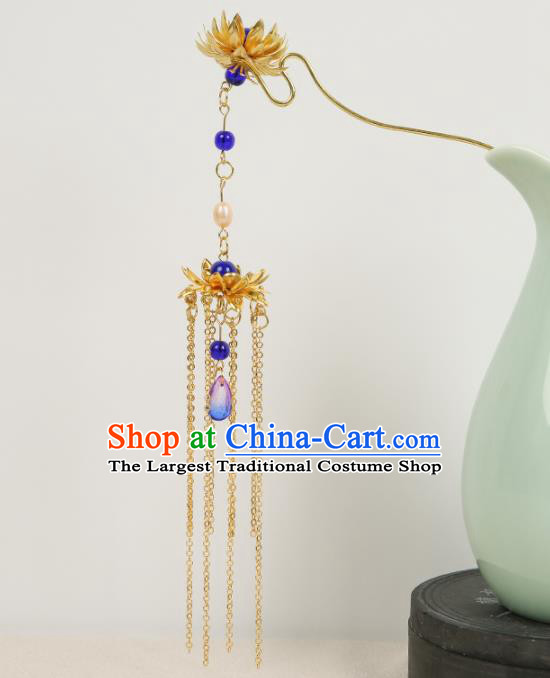 Chinese Ancient Traditional Hanfu Hairpins Golden Lotus Tassel Hair Clips Handmade Classical Hair Accessories for Women