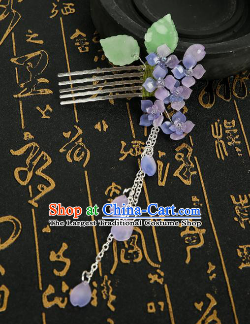 Chinese Ancient Traditional Hanfu Purple Flowers Tassel Hair Comb Handmade Classical Hair Accessories for Women