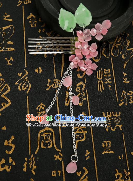 Chinese Ancient Traditional Hanfu Pink Flowers Tassel Hair Comb Handmade Classical Hair Accessories for Women