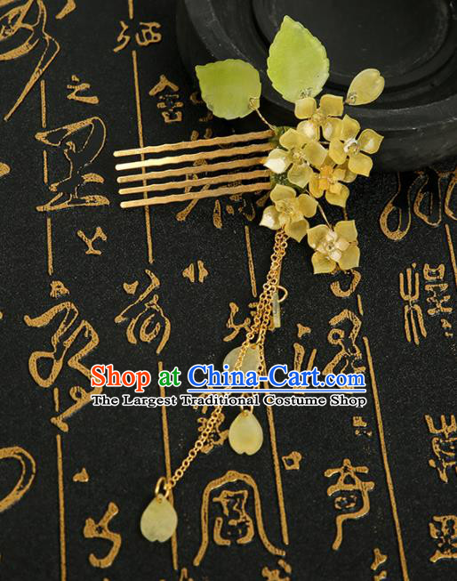 Chinese Ancient Traditional Hanfu Yellow Flowers Tassel Hair Comb Handmade Classical Hair Accessories for Women
