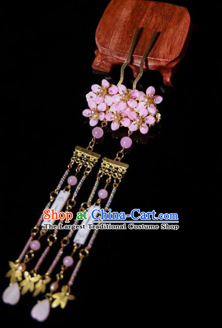 Chinese Ancient Traditional Hanfu Pink Crystal Tassel Hairpins Handmade Classical Hair Accessories for Women