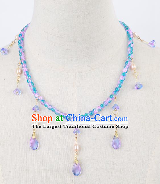 Chinese Traditional Hanfu Beads Tassel Necklace Traditional Classical Jewelry Accessories for Women