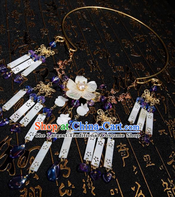 Chinese Traditional Hanfu Shell Tassel Necklace Traditional Classical Jewelry Accessories for Women