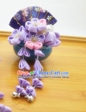 Asian Japanese Traditional Kimono Hair Stick Japan Handmade Classical Purple Flowers Hair Accessories for Women