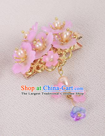 Chinese Ancient Traditional Hanfu Pink Flowers Hair Claws Handmade Classical Hair Accessories for Women