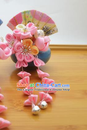 Asian Japanese Traditional Kimono Hair Stick Japan Handmade Classical Pink Flowers Hair Accessories for Women