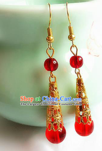 Chinese Ancient Handmade Red Beads Earrings Traditional Classical Hanfu Ear Jewelry Accessories for Women