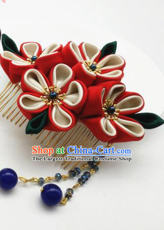 Asian Japanese Traditional Geisha Red Flowers Hair Comb Japan Kimono Handmade Classical Hair Accessories for Women