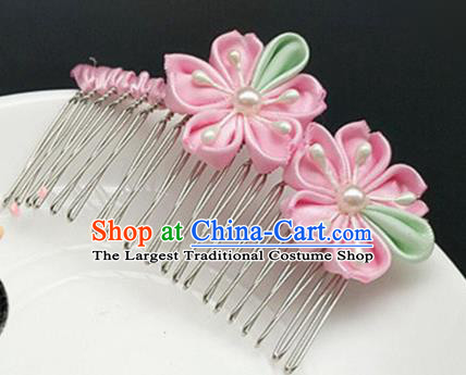 Asian Japanese Traditional Geisha Pink Hair Comb Japan Kimono Handmade Classical Hair Accessories for Women