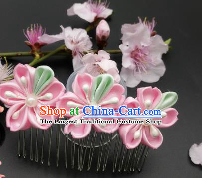 Asian Japanese Traditional Geisha Pink Flowers Hair Comb Japan Kimono Handmade Classical Hair Accessories for Women
