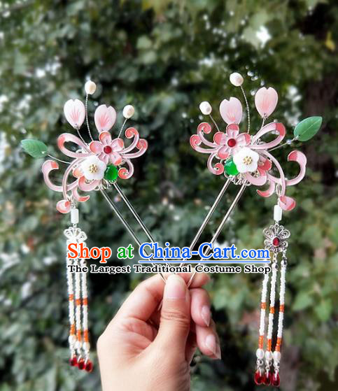 Chinese Ancient Traditional Hanfu Pink Hairpins Handmade Classical Hair Accessories for Women