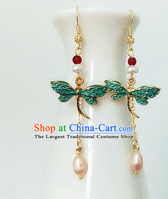 Chinese Ancient Handmade Dragonfly Earrings Traditional Classical Hanfu Ear Jewelry Accessories for Women