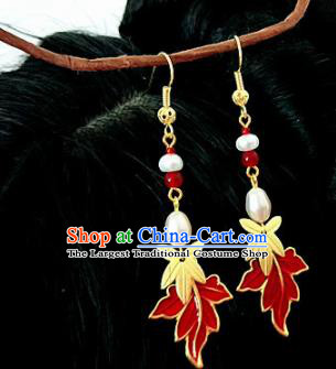 Chinese Ancient Handmade Maple Leaf Earrings Traditional Classical Hanfu Ear Jewelry Accessories for Women