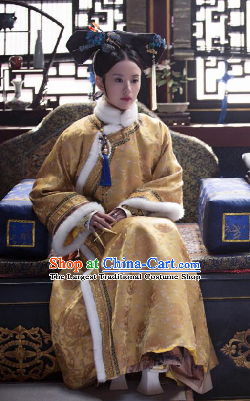 Ruyi Royal Love in the Palace Chinese Ancient Qing Dynasty Drama Empress Embroidered Costumes and Headpiece Complete Set